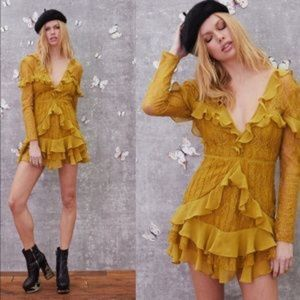 For Love and Lemons Daphne Ruffle Lace mini Dress